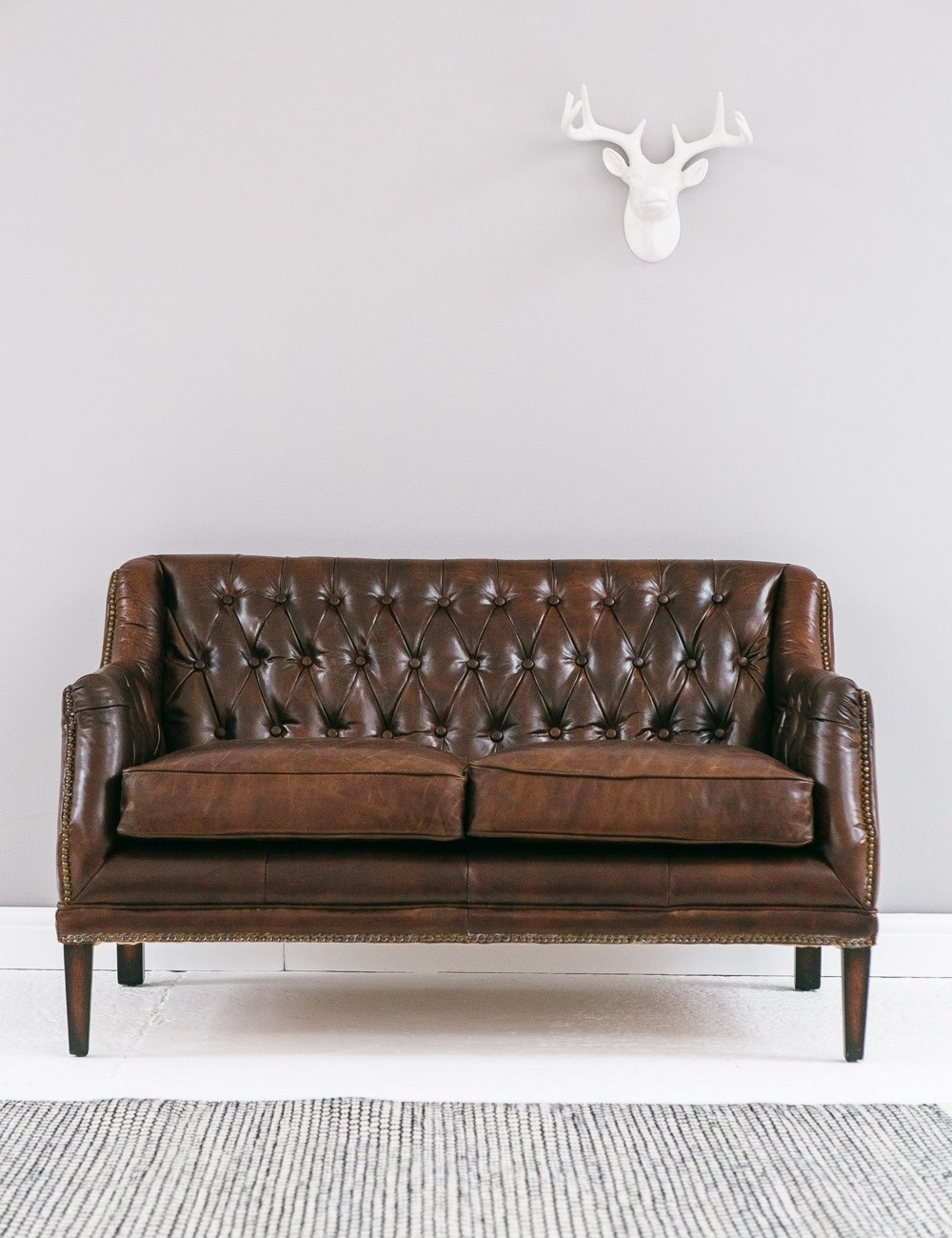 Favorite Vintage Leather Button Stud Sofa Rose Grey – Helena Source Intended For Vintage Sofas (View 8 of 20)