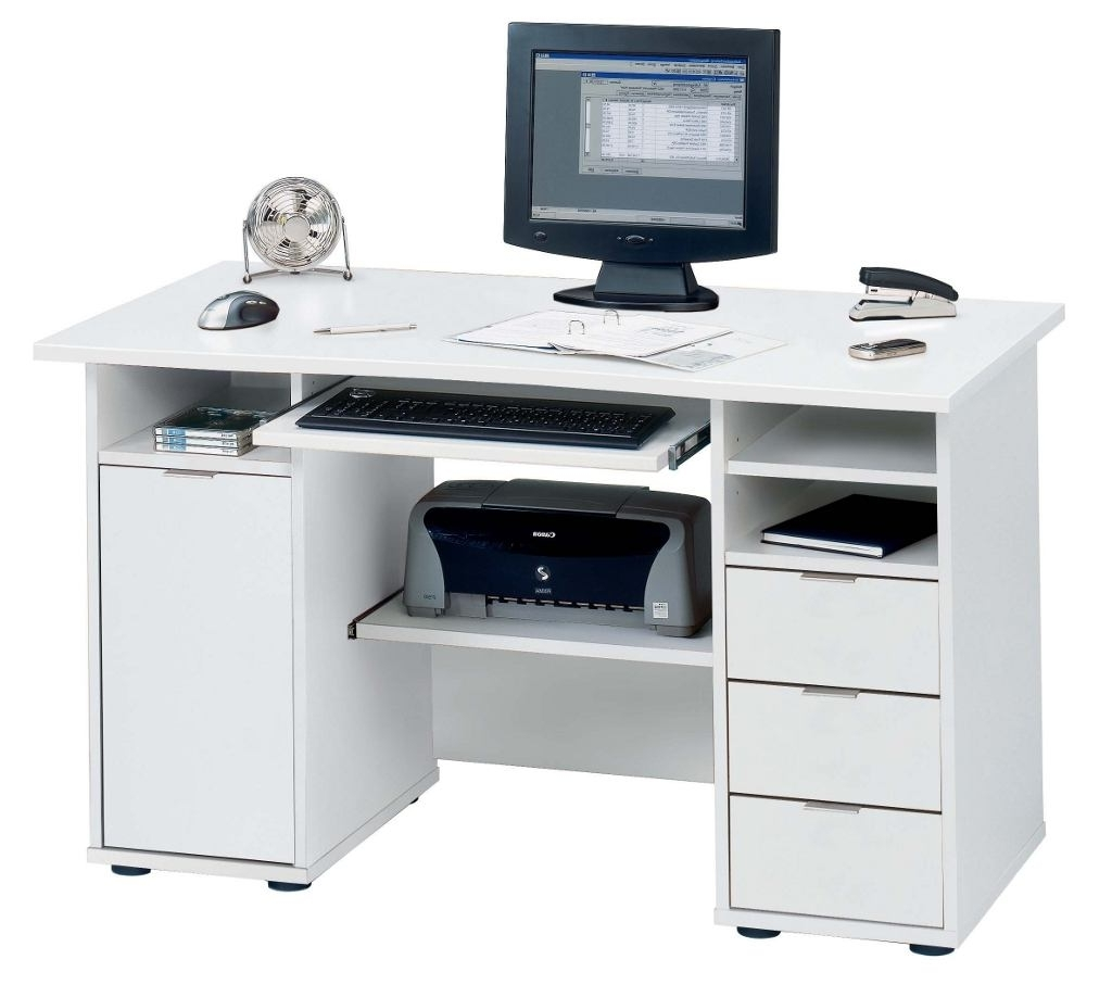 Favorite White Computer Desk With Storage White Metal Shelf Wooden Office Pertaining To Computer Desks In White (View 11 of 20)