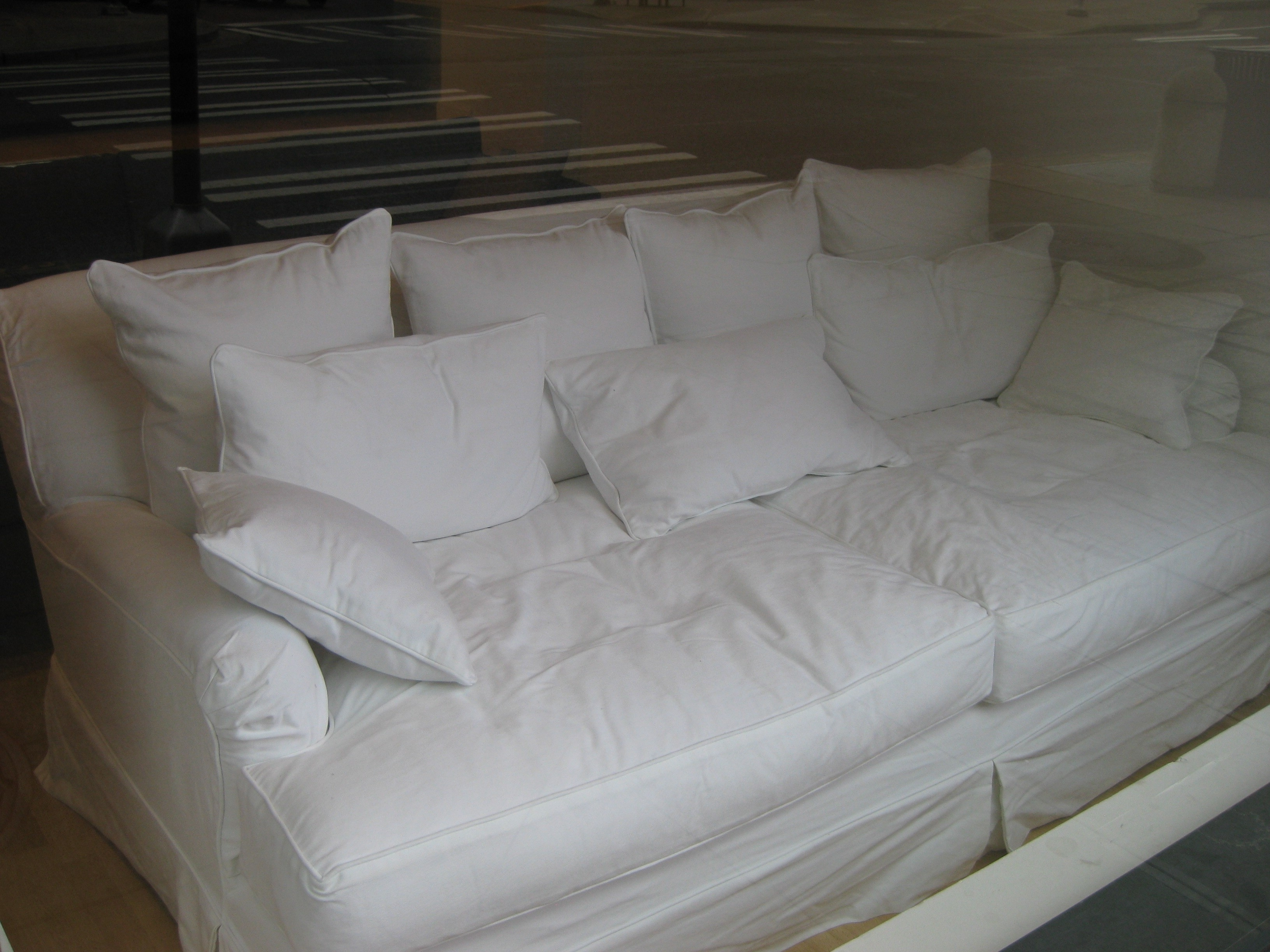 Favorite White Slipcovered Extra Deep Seated Loveseat Couch With Pillows Of Regarding Deep Cushion Sofas (View 20 of 20)