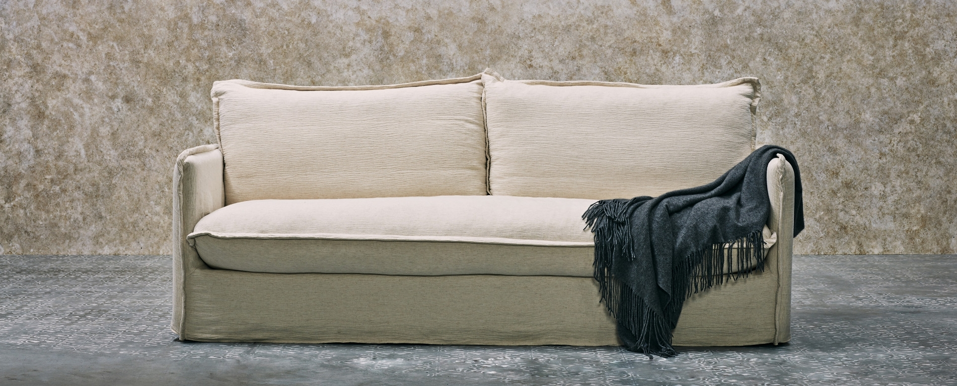 Feather Filled Sofa W/ Pillow Style Cushions (View 7 Of 20)