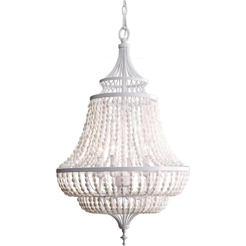 Feiss Maarid 4 Light White Semi Gloss 1 Tier Chandelier F2807/4Wsg With Most Popular White Chandeliers (View 19 of 20)
