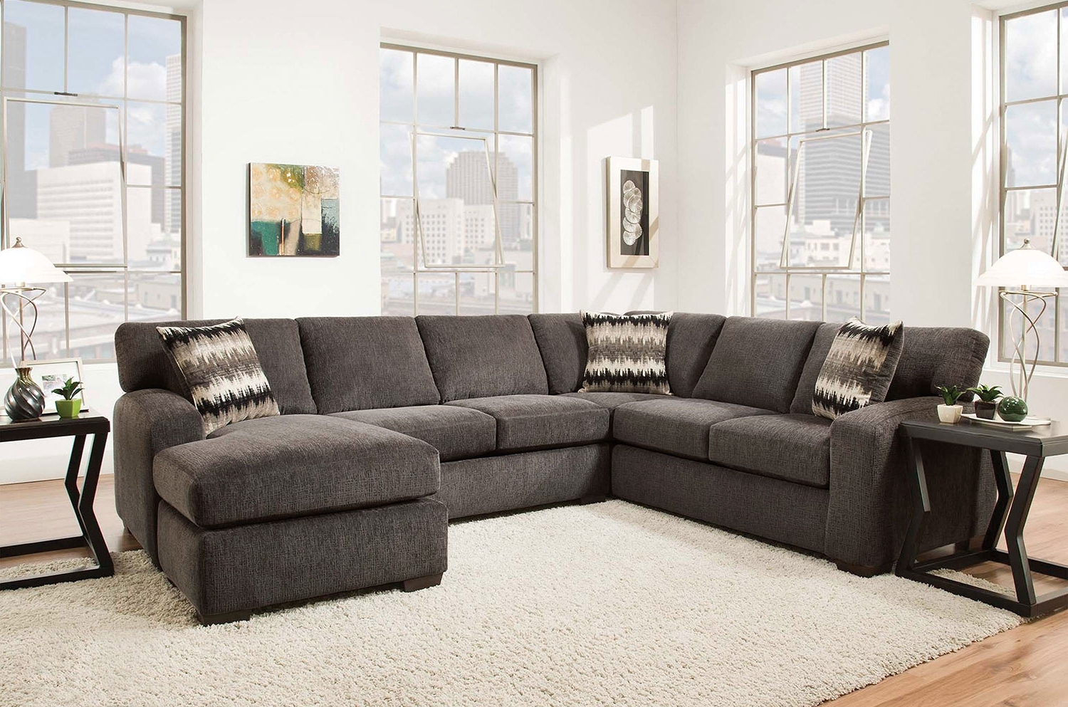 Fenella 2 Piece Right Facing Sectional – Smoke (View 6 of 20)