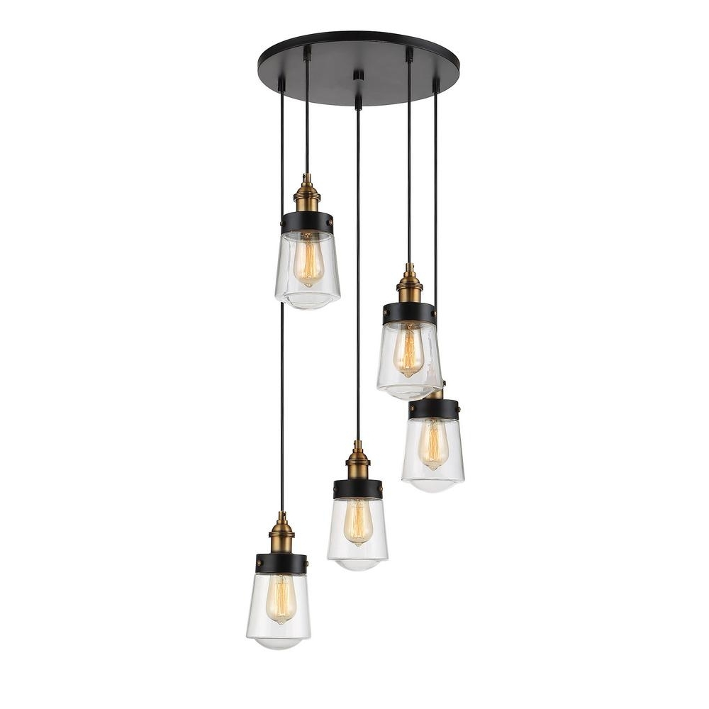 Filament Design 5 Light Vintage Black With Warm Brass Multi Point Within Most Recent Vintage Black Chandelier (View 15 of 20)