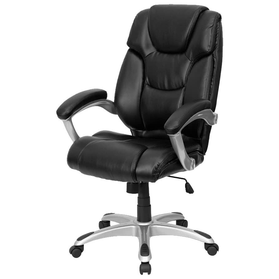 Flash Furniture Go 931H Bk Gg High Back Black Leather Executive Inside Newest Leather Executive Office Chairs (View 4 of 20)
