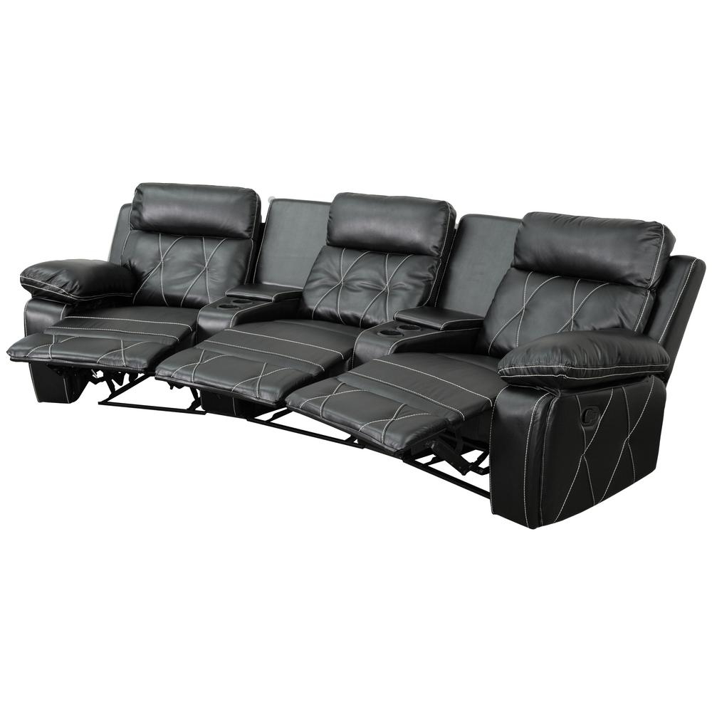 Flash Furniture Reel Comfort Series 3 Seat Reclining Black Leather Within Widely Used Curved Recliner Sofas (View 12 of 20)