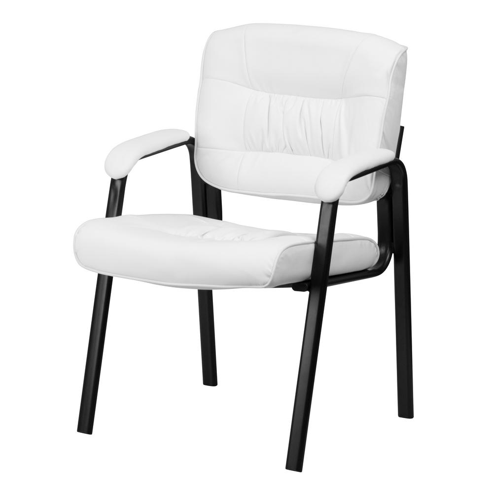 Flash Furniture White Leather Executive Side Chair With Black Intended For Most Popular Executive Office Side Chairs (View 7 of 20)