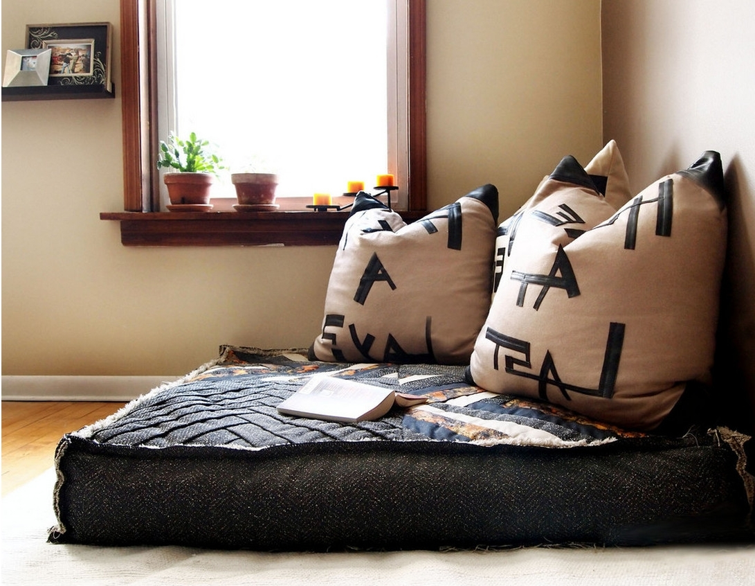 Floor Cushion Sofas Within Newest Furniture : Small Square Black Cozy Floor Couch And Square Brown (View 7 of 20)