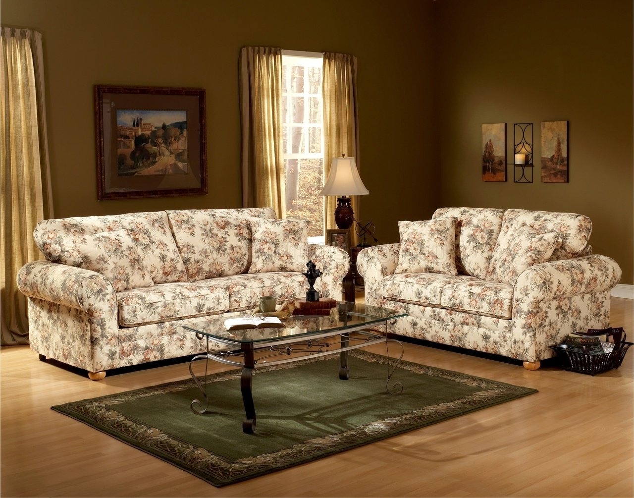 Floral Pattern Fabric Traditional Sofa & Loveseat Set Intended For Recent Traditional Sofas And Chairs (View 7 of 20)