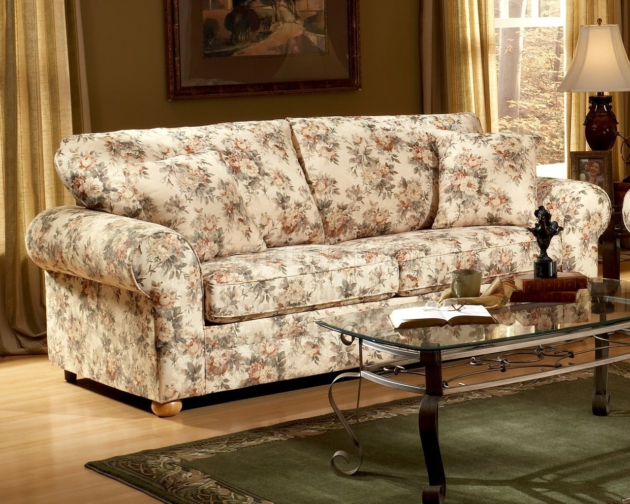 Floral Sofas And Chairs Pertaining To Well Liked Pattern Fabric Traditional Sofa & Loveseat Set (View 7 of 20)