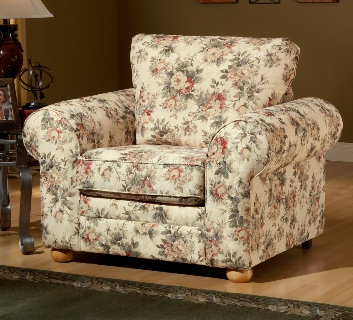 Floral Sofas And Chairs Throughout Preferred Pattern Fabric Traditional Sofa & Loveseat Set (View 4 of 20)