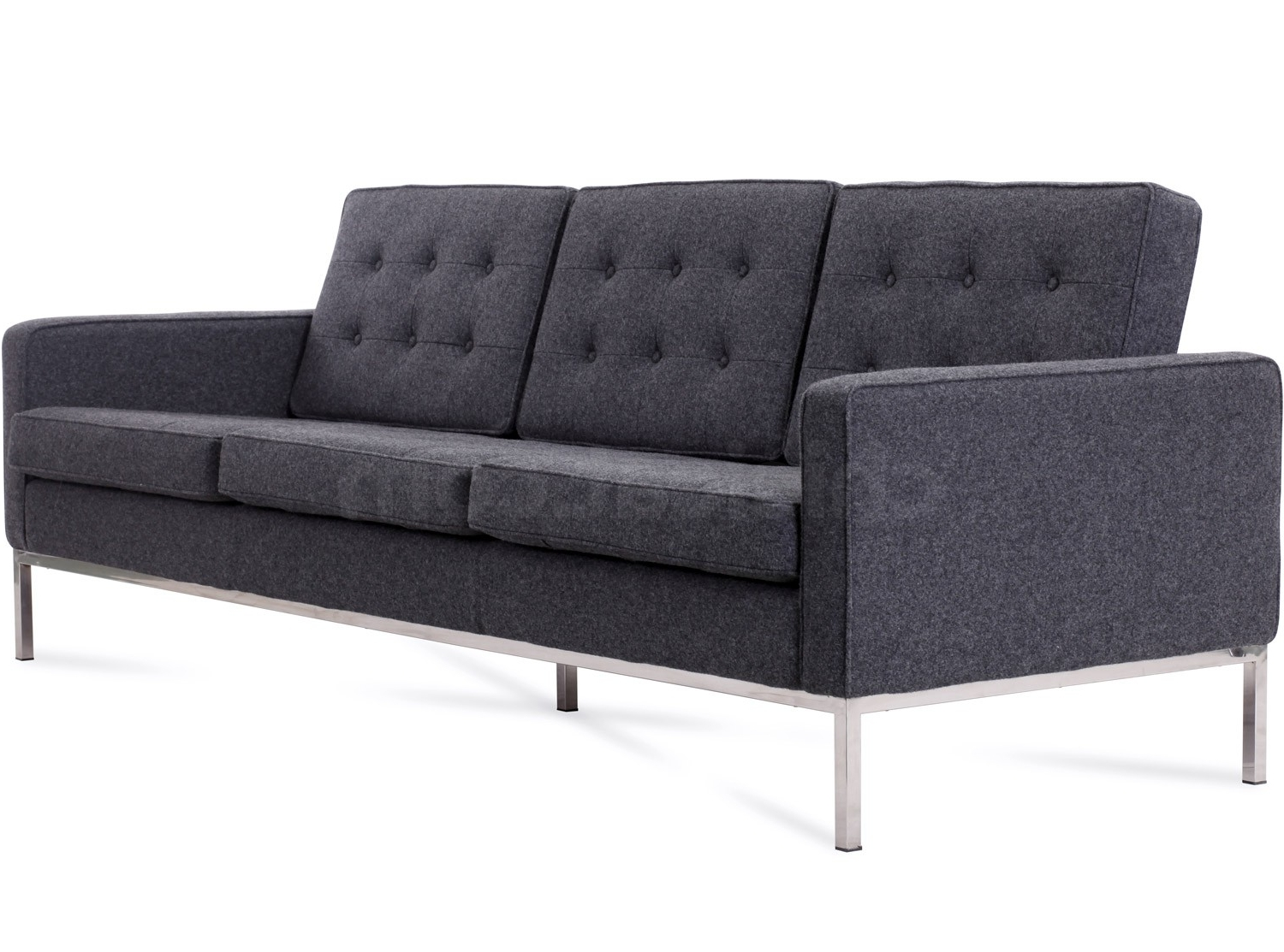 Florence Knoll 3 Seater Sofas Pertaining To Popular Florence Knoll Sofa 3 Seater Wool (Platinum Replica) (View 6 of 20)