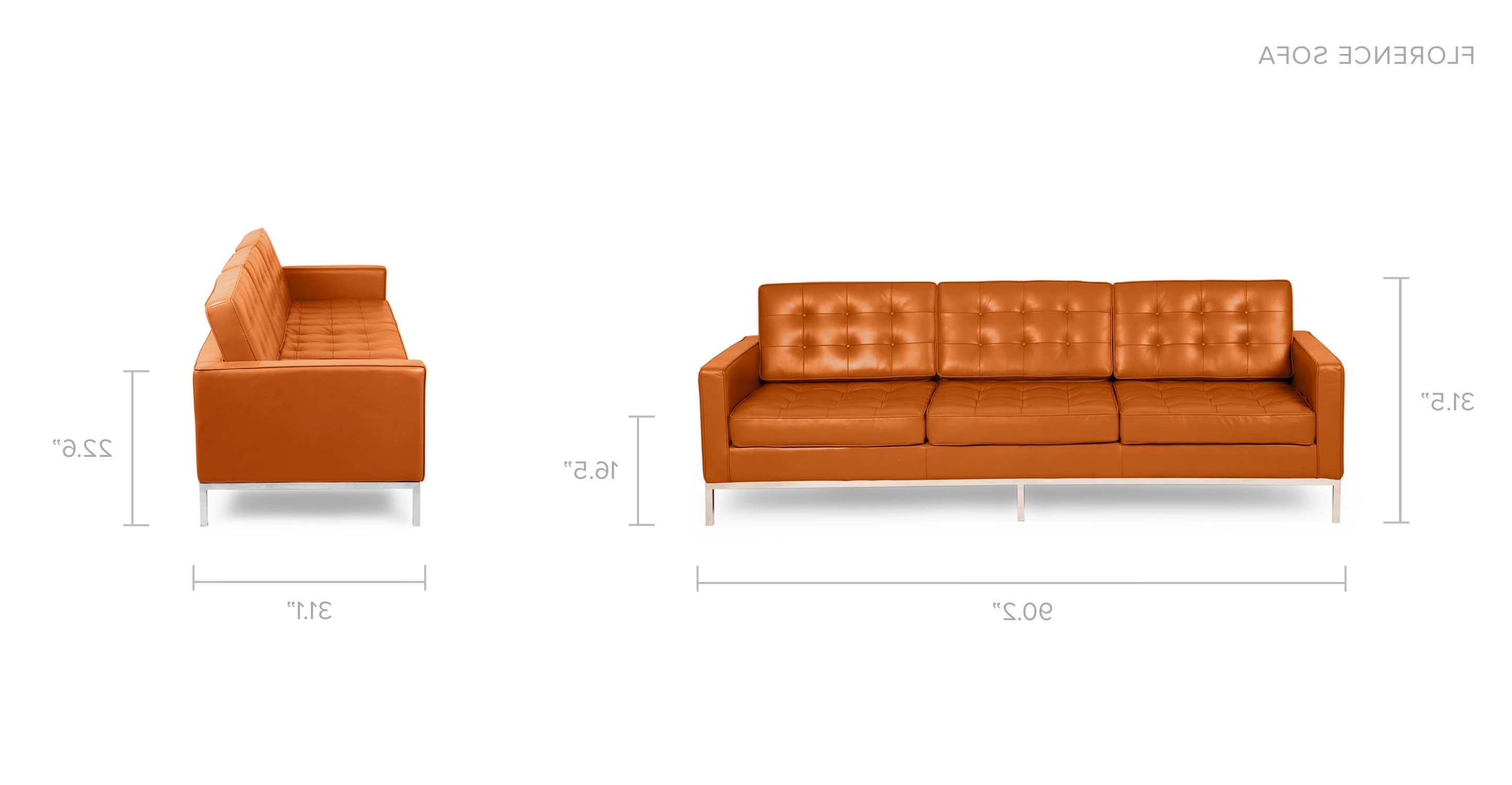 Florence Knoll Mid Century Modern Leather Sofaskardiel Regarding Favorite Florence Leather Sofas (View 17 of 20)
