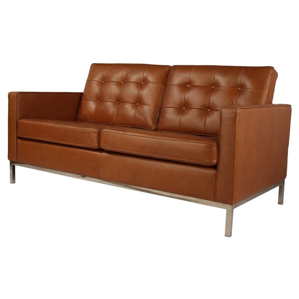 Florence Knoll Sofa 2 Seater Sofa Replica In Leather Commercial Inside  Fashionable Florence Knoll Leather Sofas