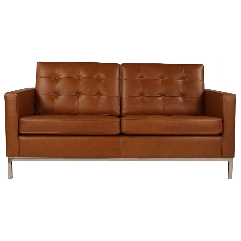 Florence Knoll Sofa 2 Seater Sofa Replica In Leather Commercial Regarding Popular Florence Knoll 3 Seater Sofas (View 13 of 20)
