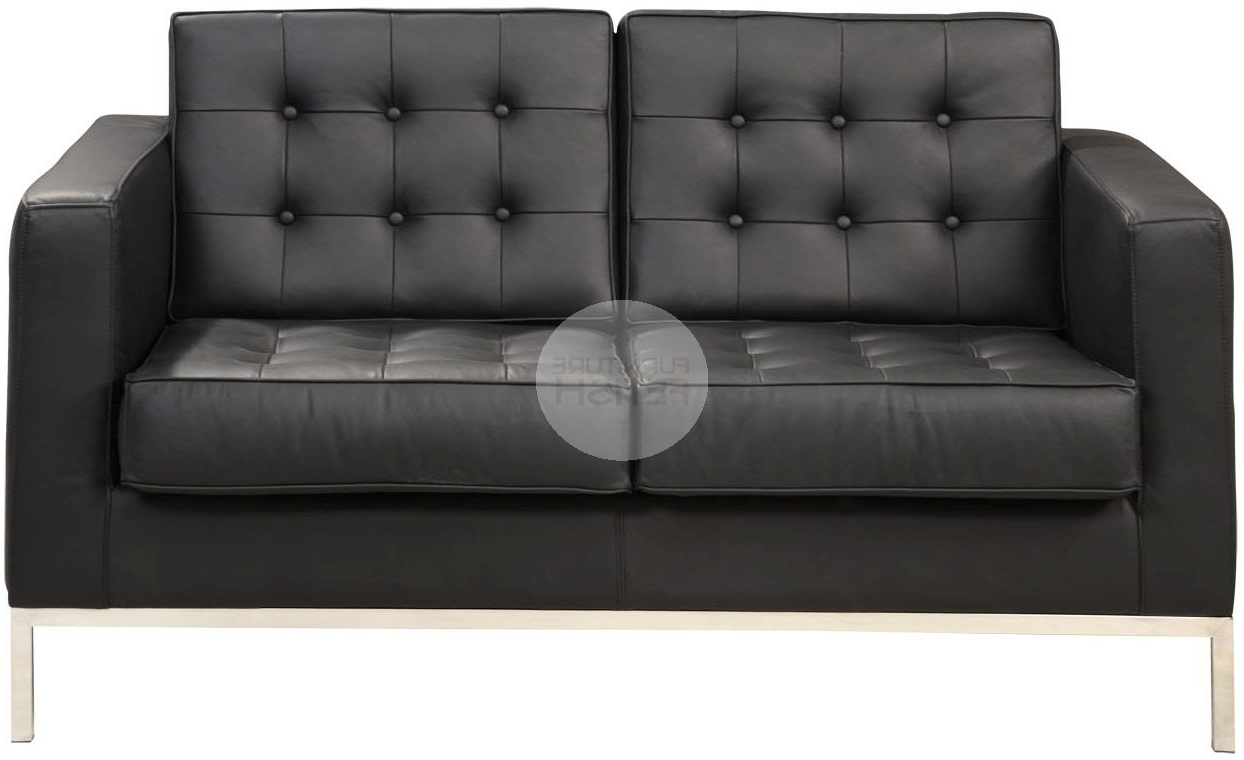 Florence Leather Sofas With Regard To Fashionable Florence Knoll Replica 2 Seater Sofa – Black Furniture Fetish Gold (View 11 of 20)