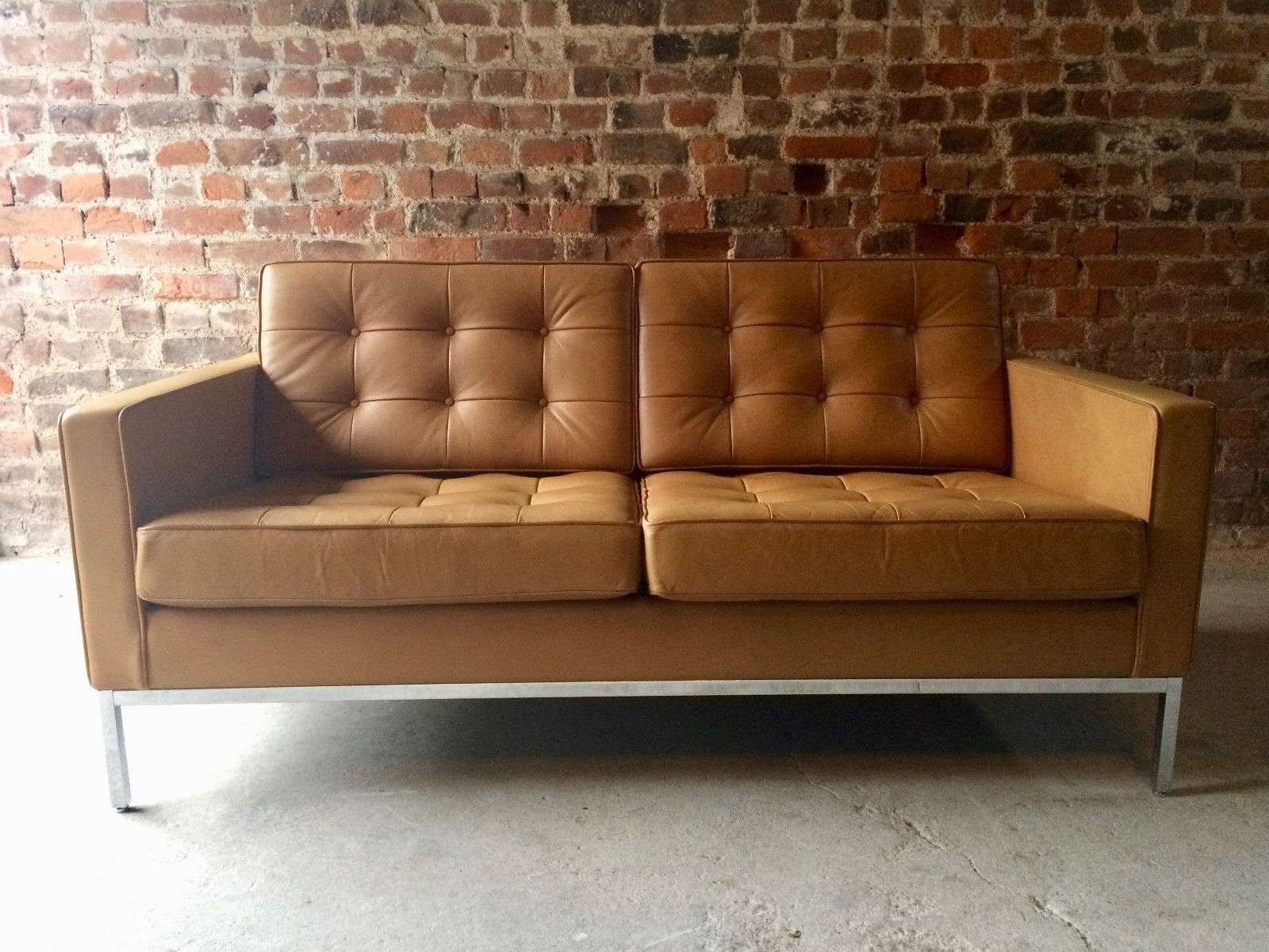 Florence Sofas And Loveseats In Popular Vintage 2 Seater Leather Sofaflorence Knoll For Knoll For Sale (View 6 of 20)