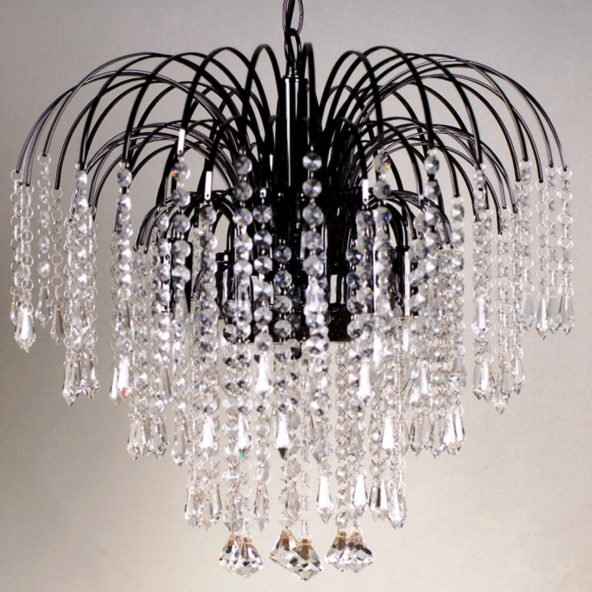 Four Light Black Crystal Chandelier In Best And Newest Waterfall Crystal Chandelier (View 11 of 20)