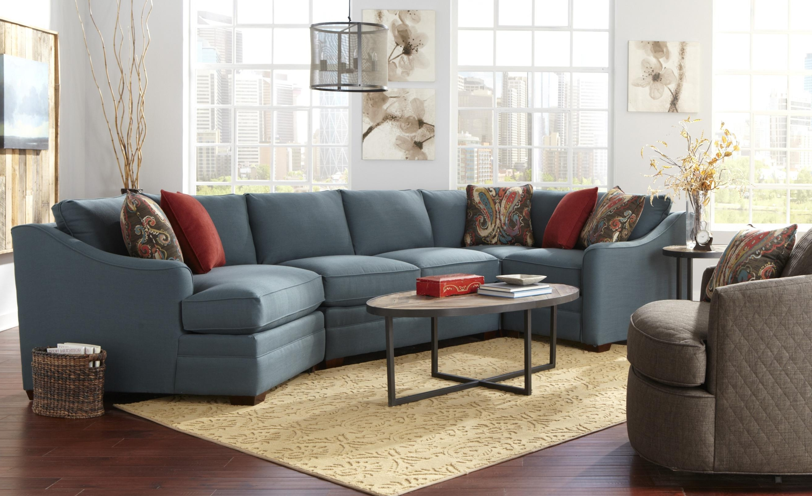 Four Piece <B>Customizable</b> Sectional Sofa With Raf Cuddler With Regard To Fashionable Sectional Sofas With Cuddler (View 6 of 20)