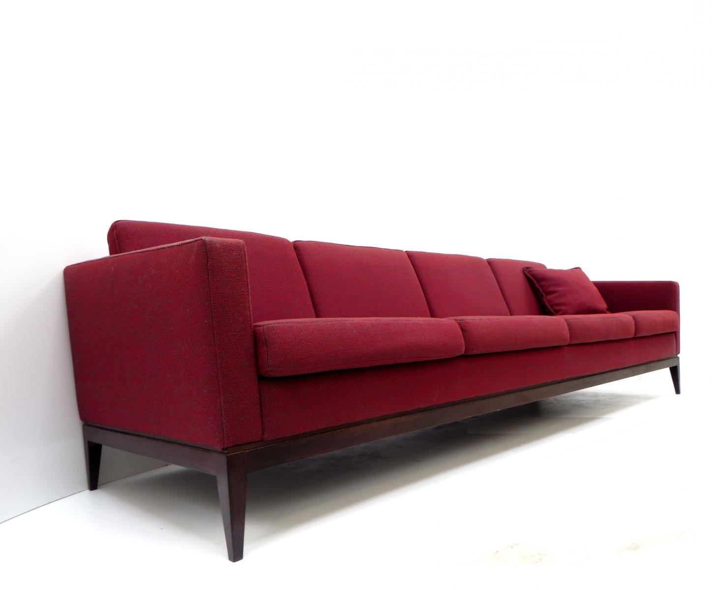 Four Seater Sofas Inside Best And Newest Large Vintage Burgundy Four Seater Sofa For Sale At Pamono (View 6 of 20)