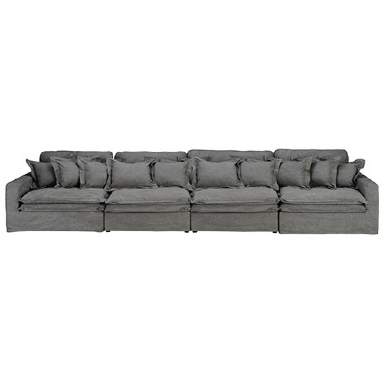 Four Seater Sofas Throughout Most Up To Date 4 Seater Sofa Vintage Grey Cotton (View 8 of 20)