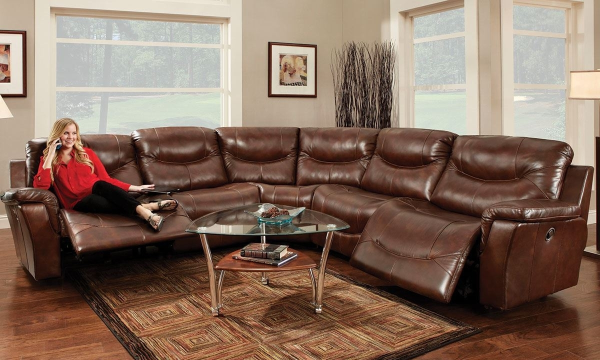 Franklin Pinehurst 6 Pc Leather Reclining Storage Sectional Sofa For Newest 6 Piece Leather Sectional Sofas (View 14 of 20)
