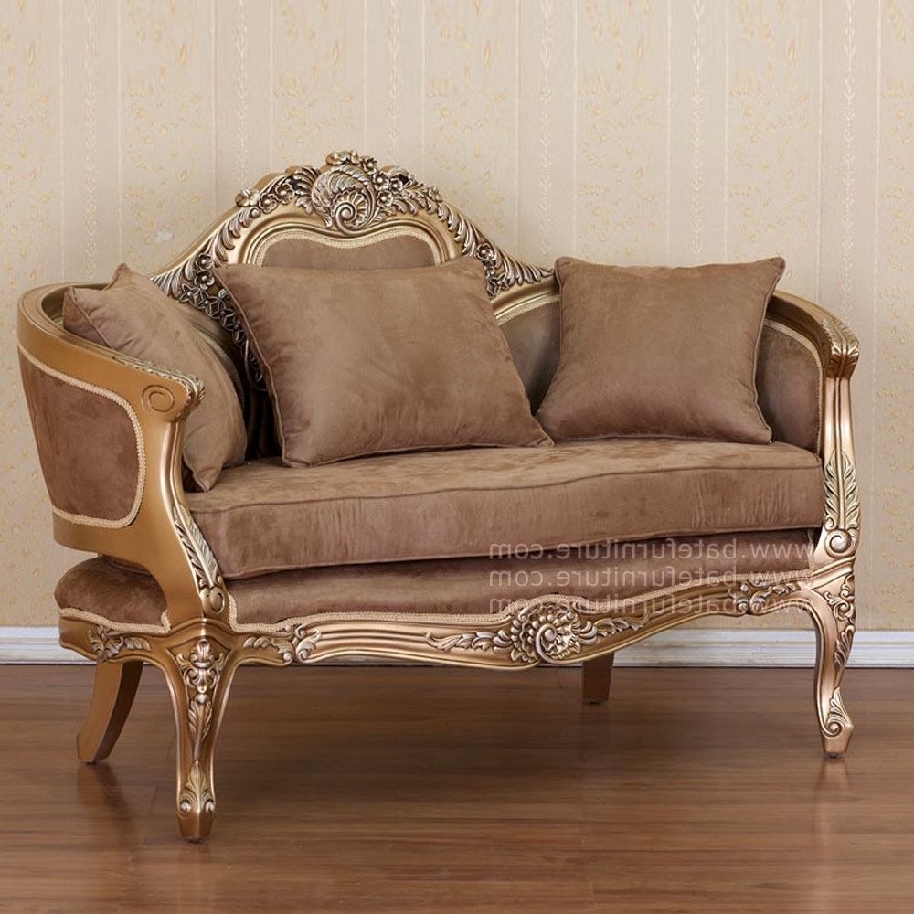 French Style Sofas Regarding Well Known Style Sofa 2 Seater Gold (View 7 of 20)