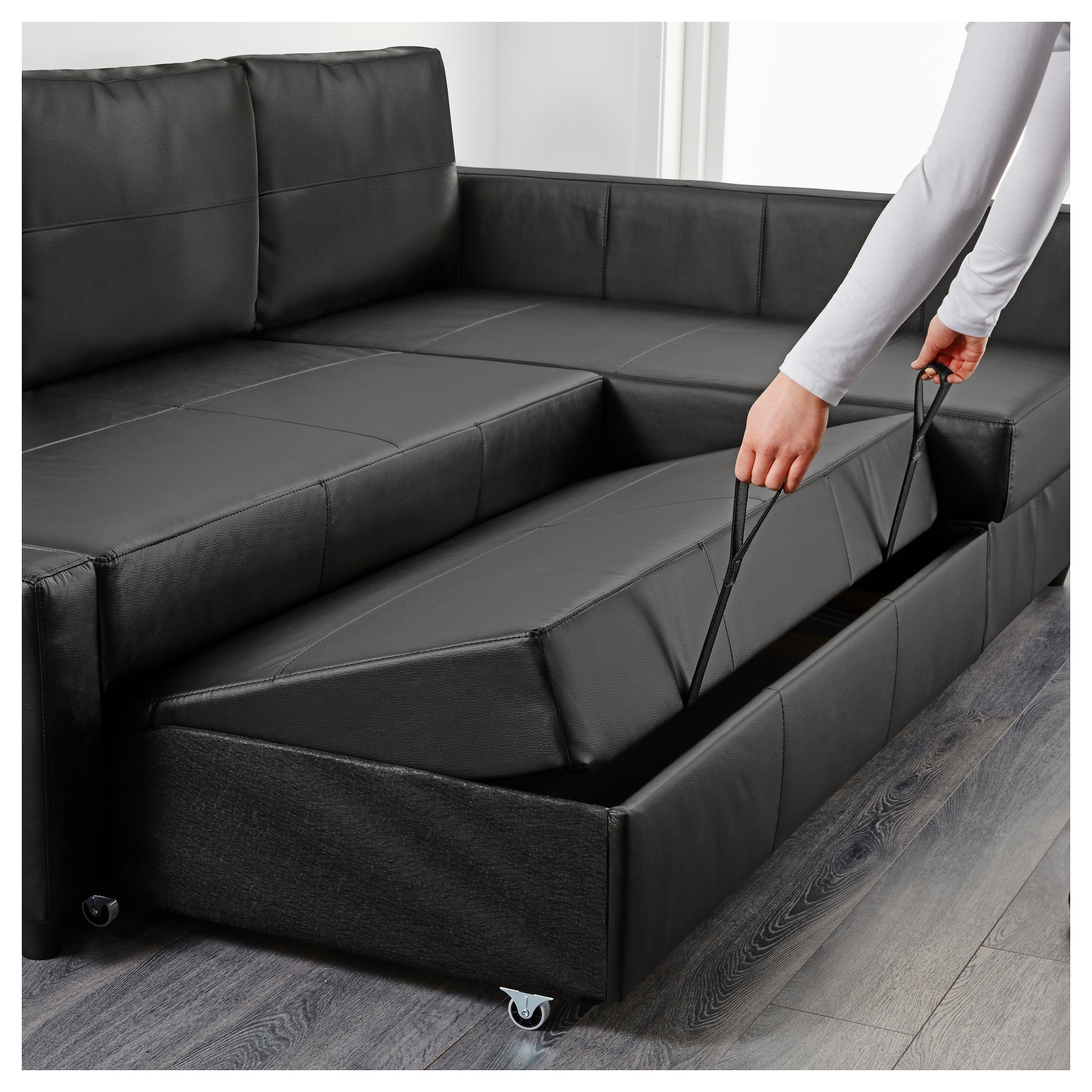 Friheten Corner Sofa Bed With Storage Bomstad Black – Ikea Regarding Most Recent Ikea Corner Sofas With Storage (View 4 of 20)