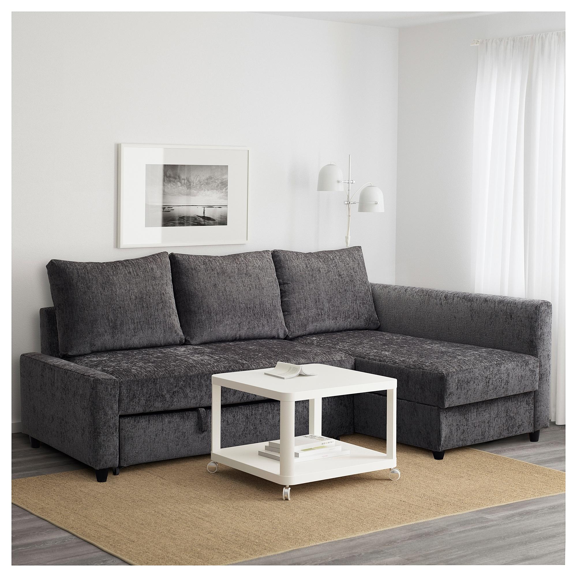 Friheten Corner Sofa Bed With Storage Dark Grey Ikea Throughout Best And Newest