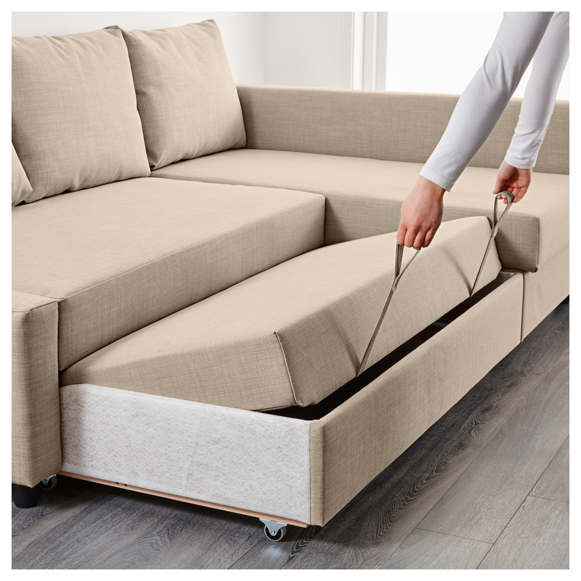 Friheten Corner Sofa Bed With Storage Skiftebo Beige – Ikea With Well Known Ikea Corner Sofas With Storage (View 2 of 20)