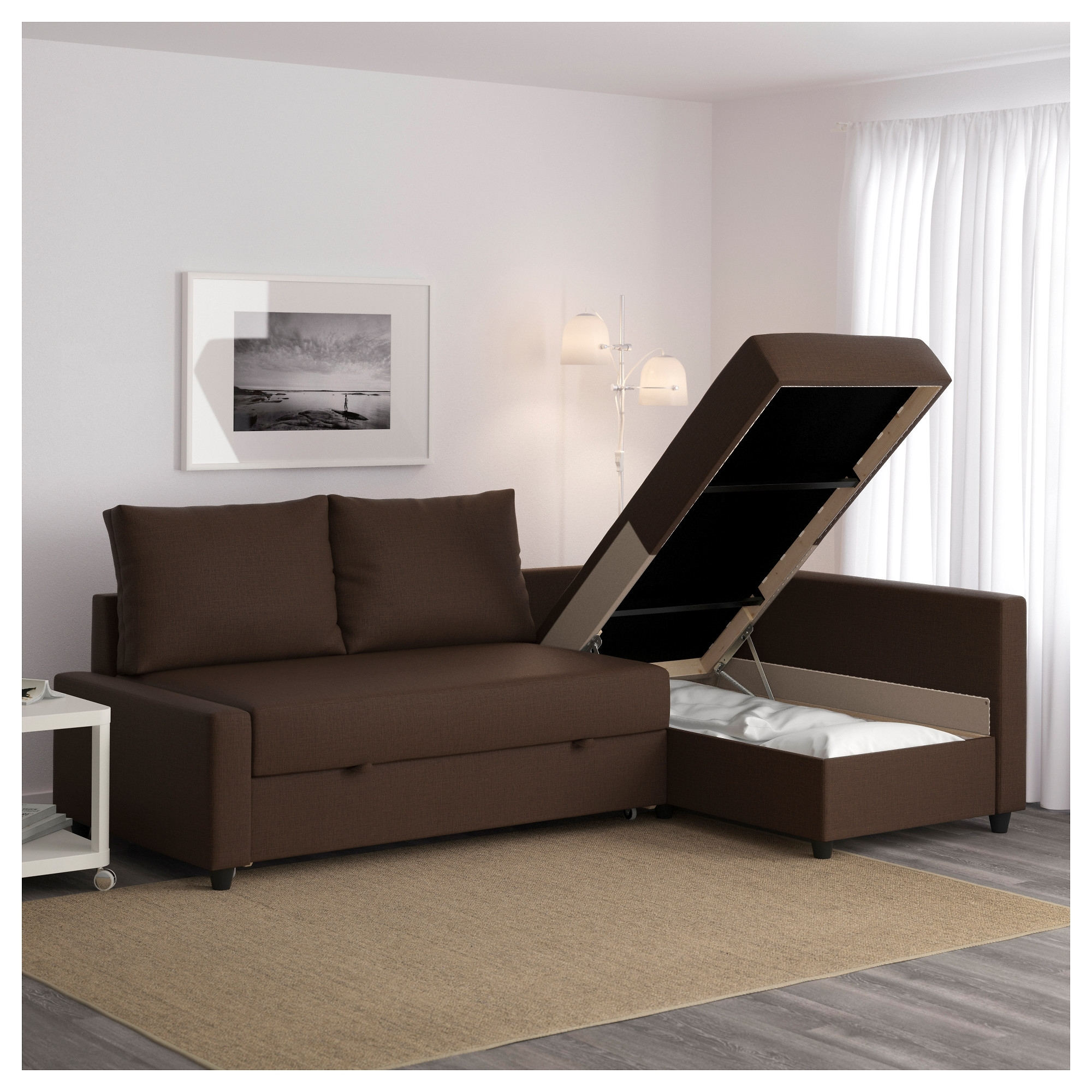 Friheten Sleeper Sectional,3 Seat W/storage – Skiftebo Dark Gray In Trendy Leather Sofas With Storage (View 7 of 20)