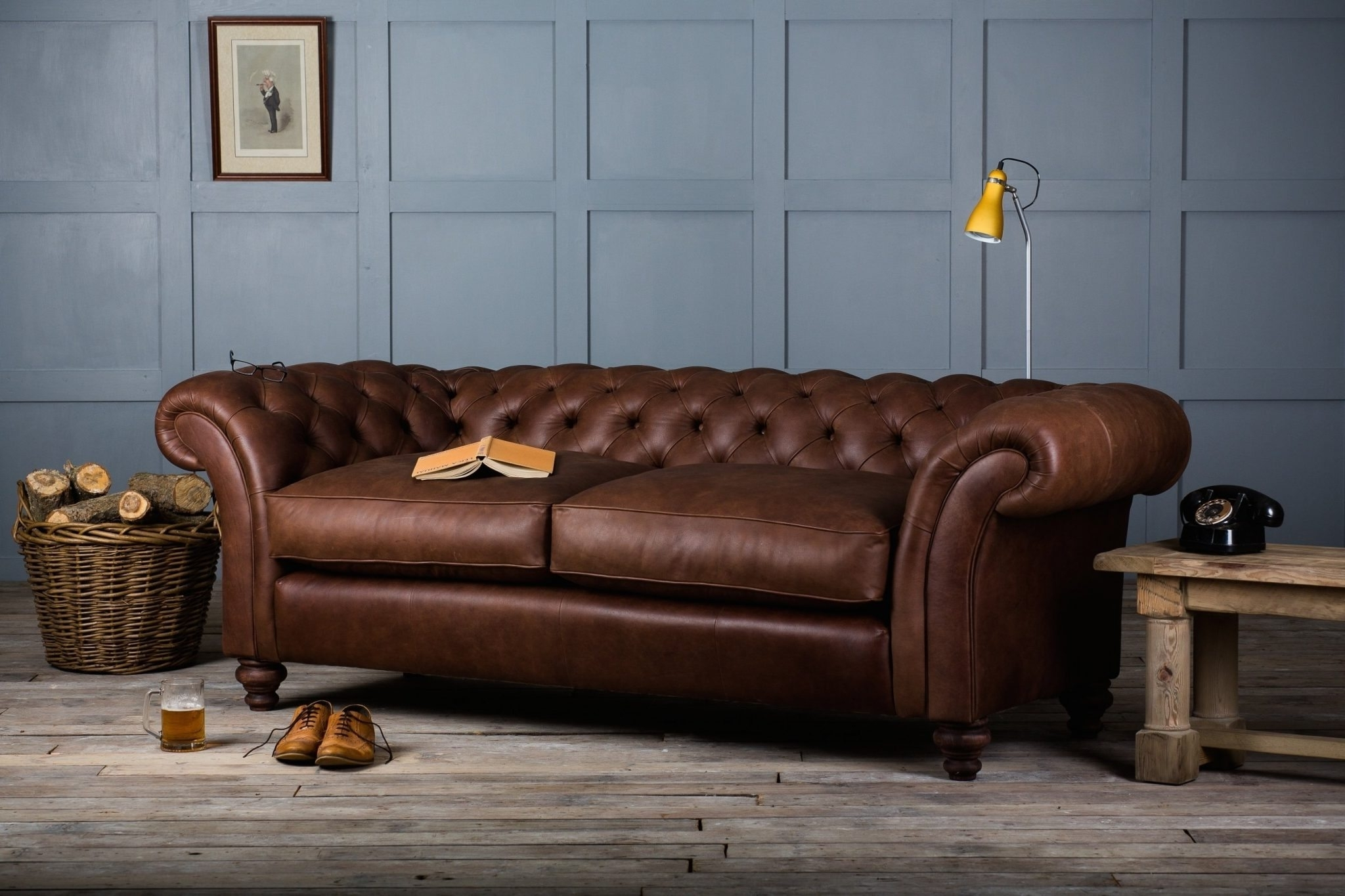 Full Grain Leather Sofas Regarding Most Recent Furniture: Tufted Full Grain Leather Sofa With Wooden Flooring And (View 8 of 20)