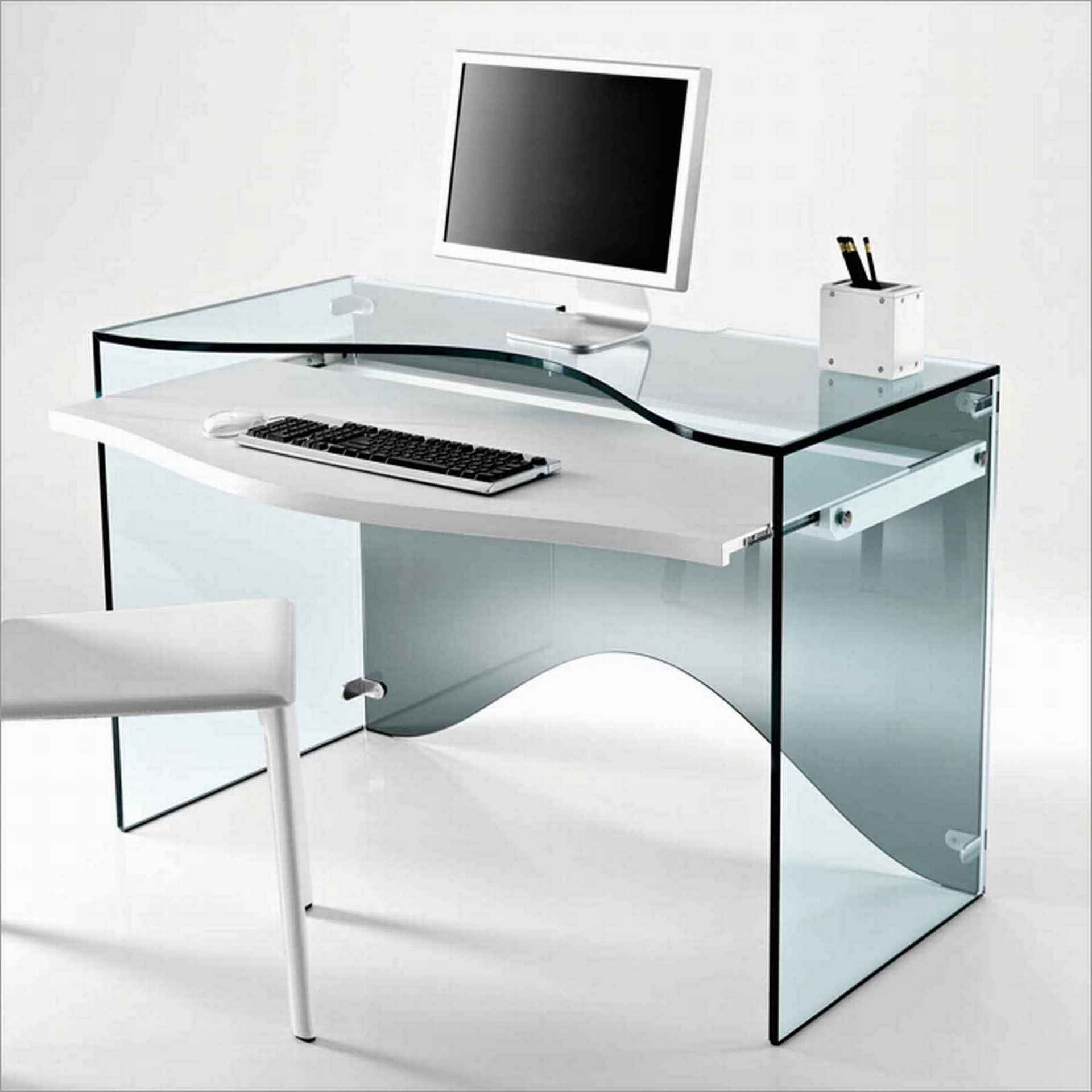 Funiture: Modern Computer Desks Ideas With Transparent Glass Regarding Trendy Glass Computer Desks (View 6 of 20)