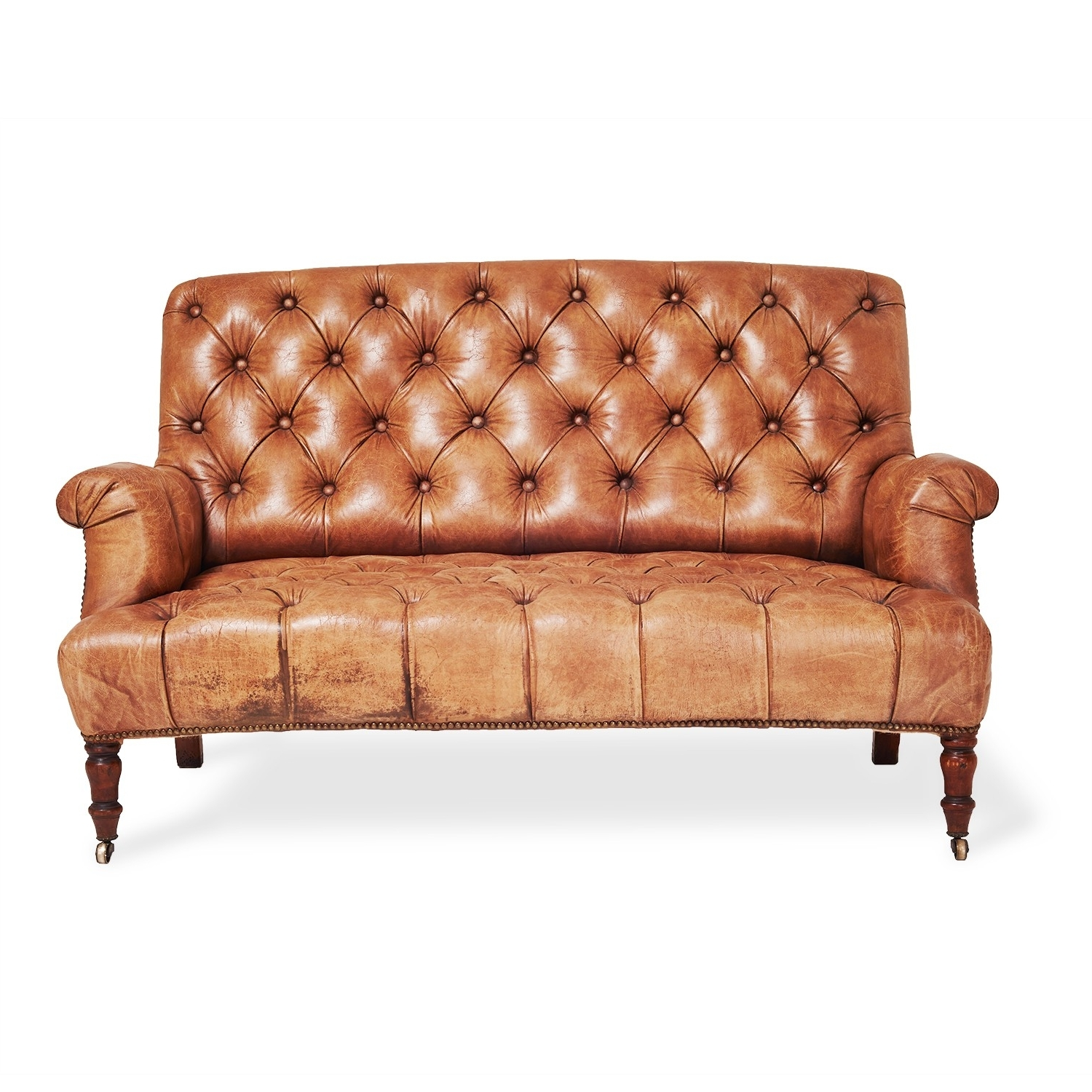 Furniture 2 Seater Brown Leather Tufted Sofa With Wooden Legs For Regarding Most Recently Released Affordable Tufted Sofas (View 4 of 20)