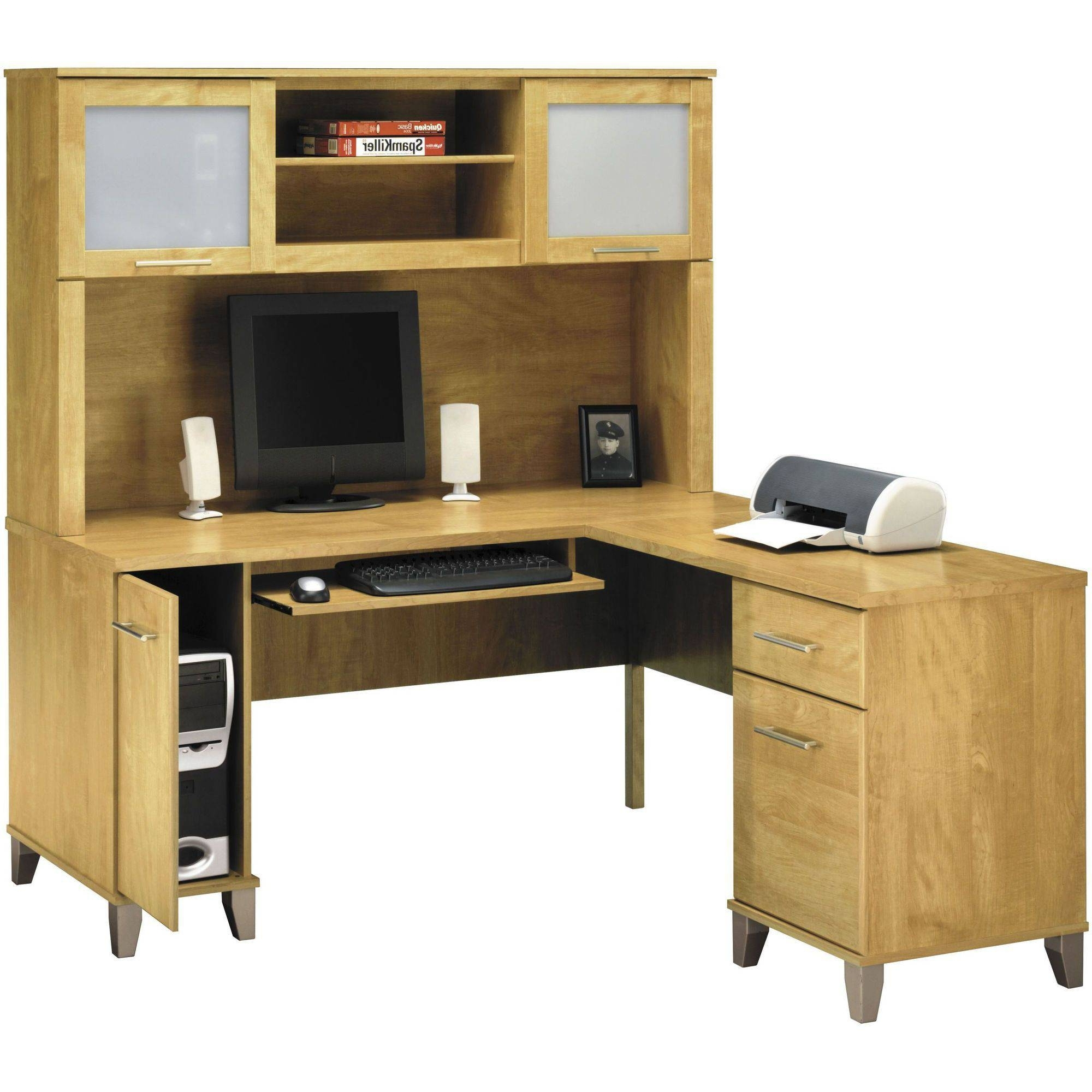 Furniture: Appealing L Shaped Desk With Hutch For Office Decor Within Most Recently Released Enclosed Computer Desks (View 13 of 20)