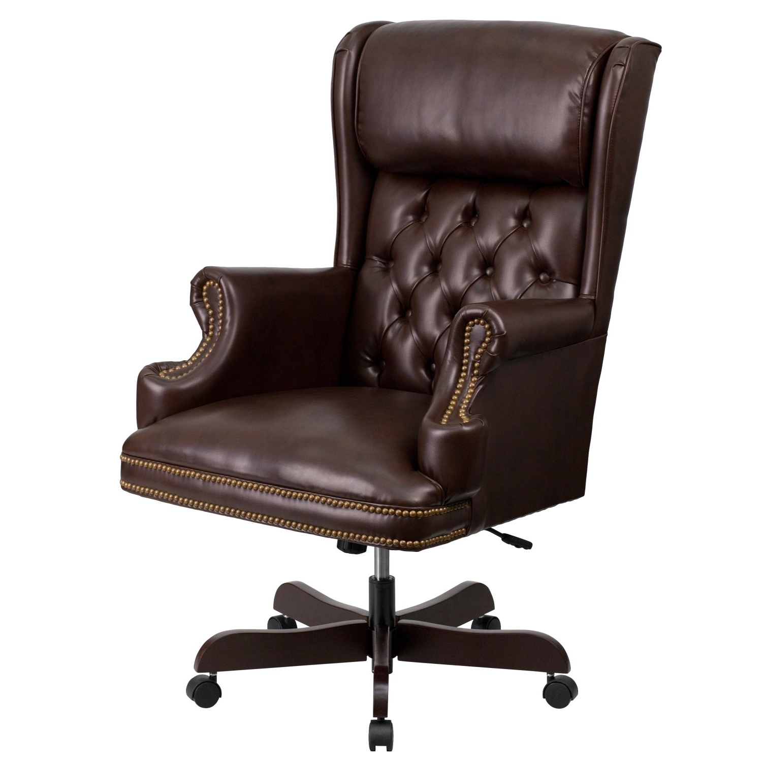 Furniture Ci J600 Brn Gg High Back Traditional Tufted Brown With Regard To Fashionable Oversized Executive Office Chairs (View 5 of 20)