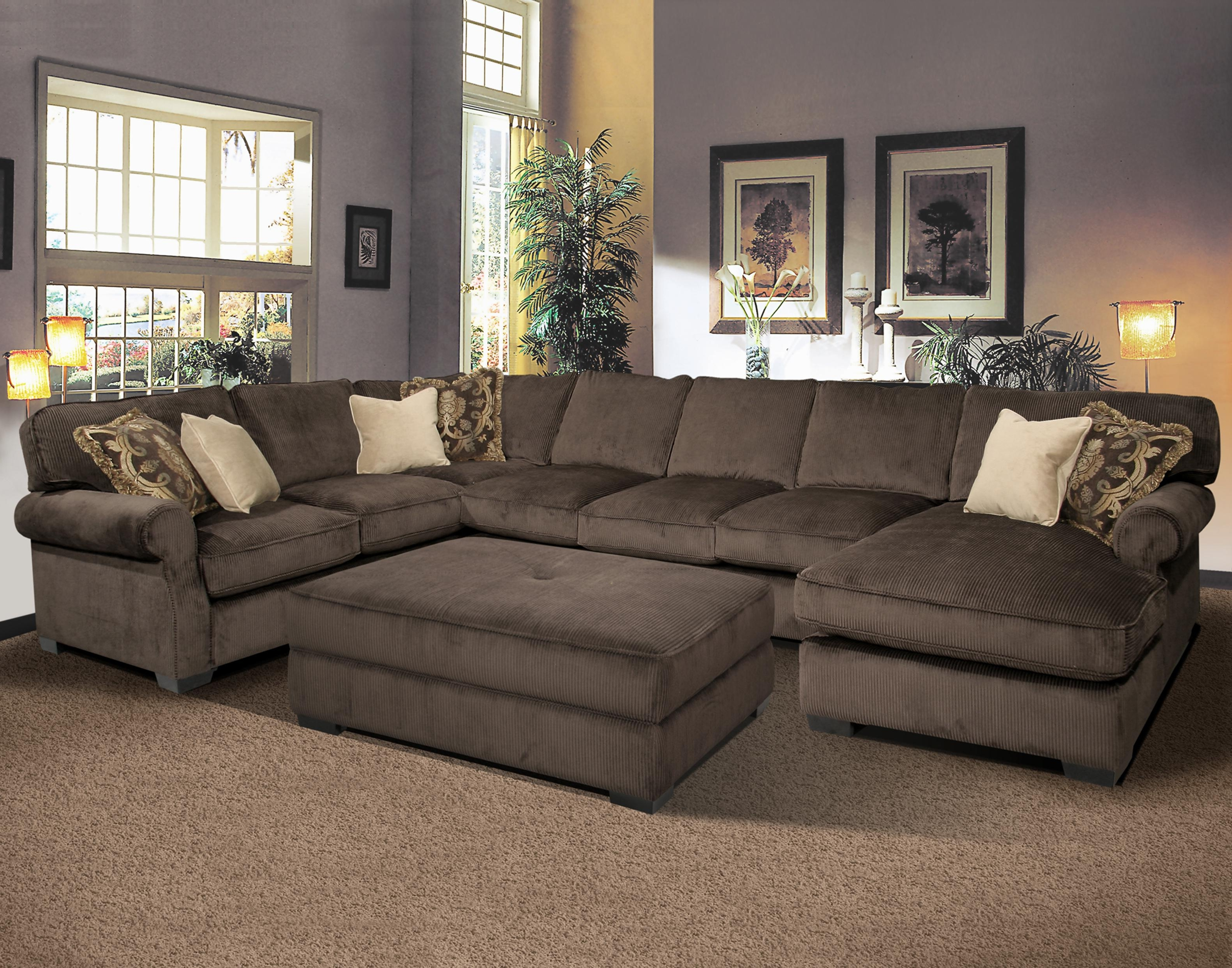 Furniture: Interesting Living Room Interior Using Large Sectional Pertaining To Fashionable Leather Sectionals With Ottoman (View 9 of 20)
