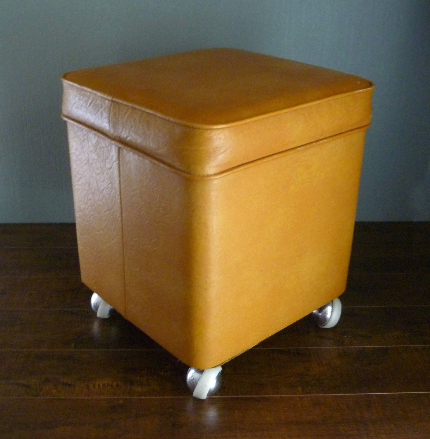Furniture: Leather Yellow Ottoman With Small Leather Storage In Well Known Ottomans With Wheels (View 7 of 20)