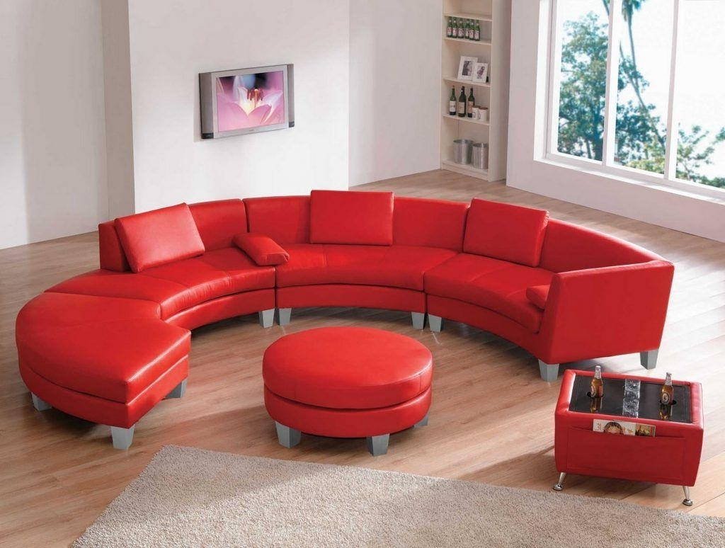 Furniture Living Room Curved Red Top Grain Leather Sectional Sofa Inside Best And Newest Red Sectional Sofas With Ottoman (View 4 of 20)