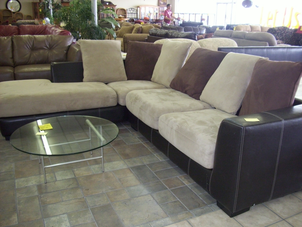 Furniture: Microsuede Sectional Lovely Leather And Suede Sectional With Regard To Recent Microsuede Sectional Sofas (View 7 of 20)