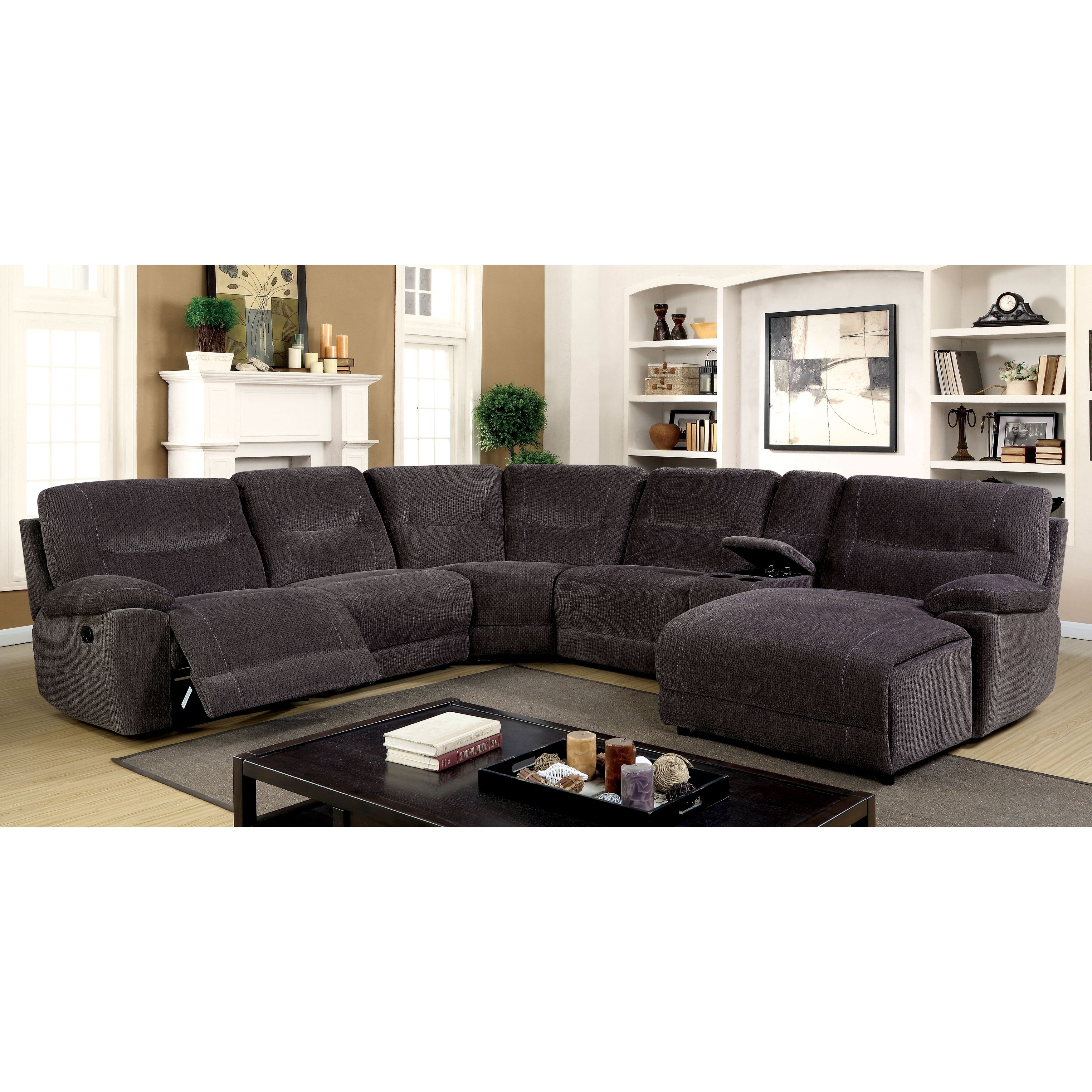 Furniture Of America Colen Reclining Chenille Fabric Grey L Shaped With Regard To Most Recently Released Johnson City Tn Sectional Sofas (View 10 of 20)