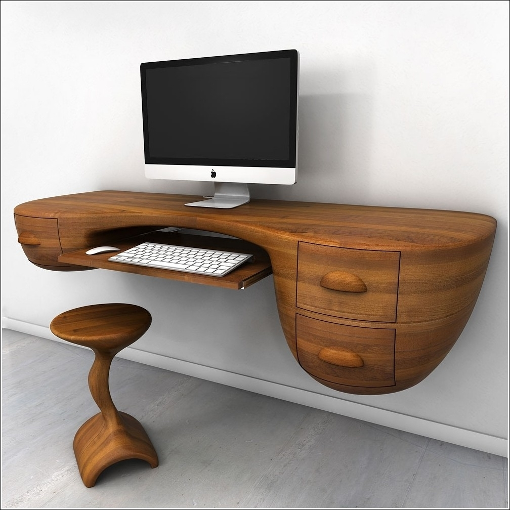 Furniture, Unique Custom Wood Wall Mounted Floating Computer Desk Pertaining To 2018 Rustic Computer Desks (View 5 of 20)