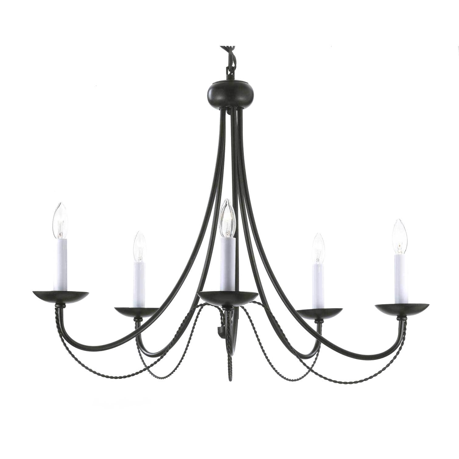 Gallery Versailles 5 Light Black Wrought Iron Chandelier – Free Inside Well Known Wrought Iron Chandeliers (View 5 of 20)