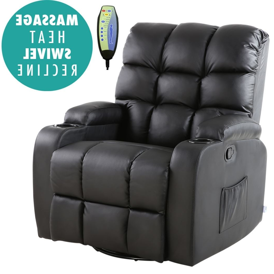 Gaming Sofa Chairs Throughout Fashionable Regal Leather Recliner Chair Rocking Massage Swivel Heated Gaming (View 11 of 20)