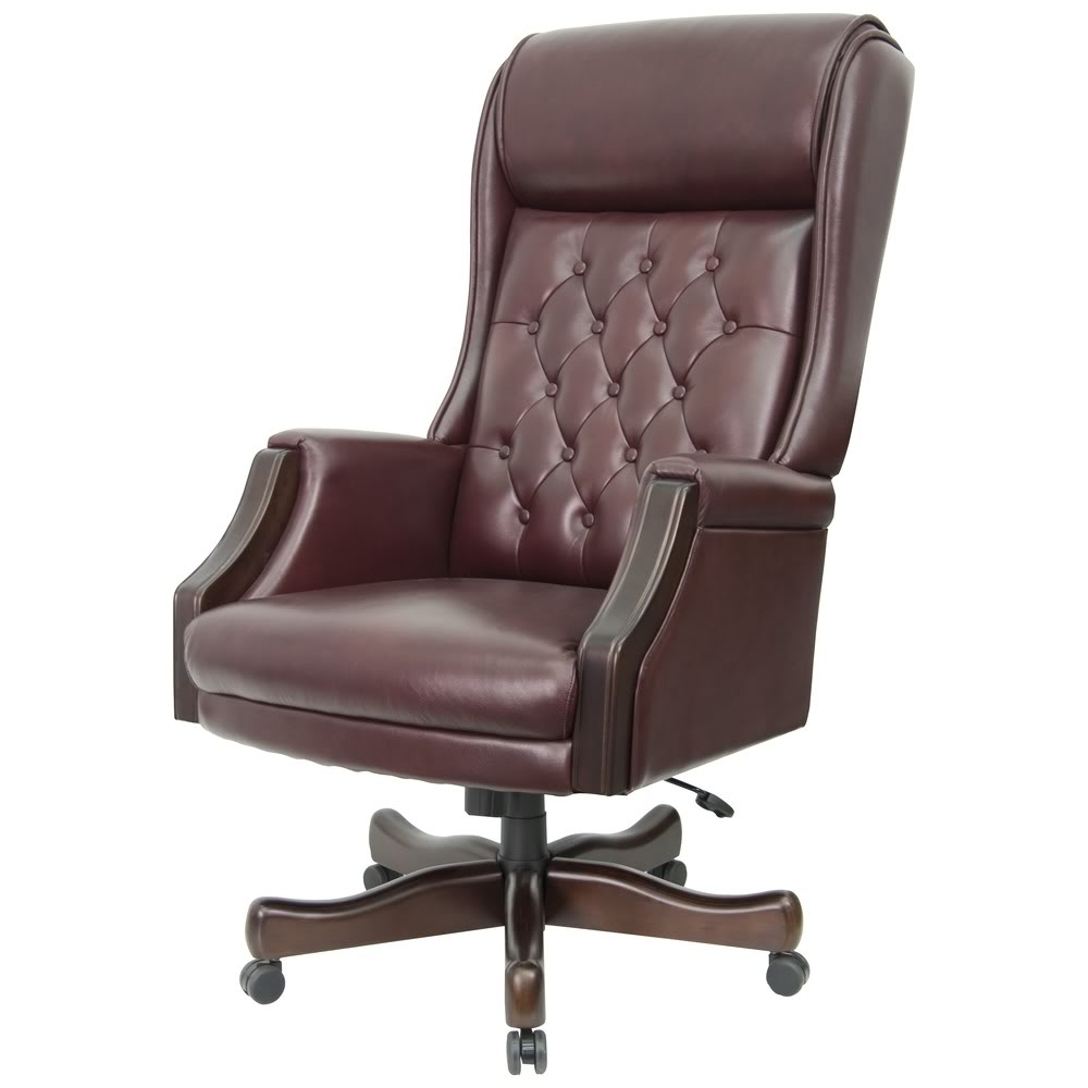 Genuine Leather Executive Office Chairs Pertaining To Recent Chairs : Grey Leather Office Chair Faux Leather Office Chair Real (View 8 of 20)
