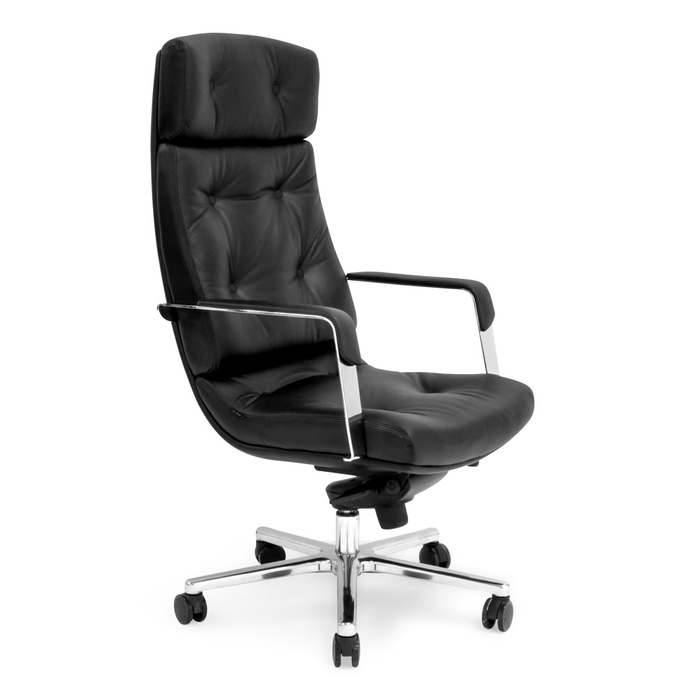Genuine Leather Executive Office Chairs With Regard To Most Popular Perot Genuine Leather Aluminum Base High Back Executive Chair (View 9 of 20)