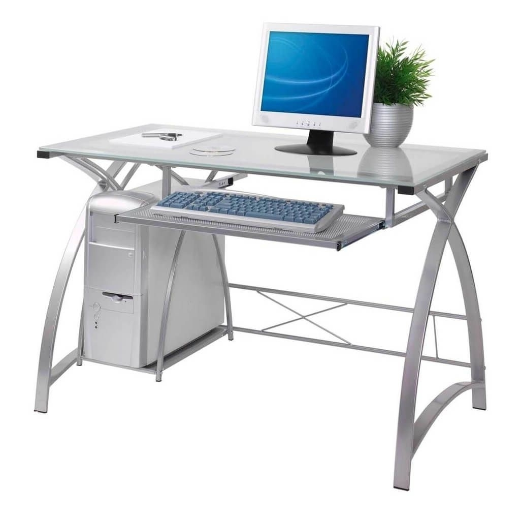 Glass And Metal Computer Desks Intended For 2019 Furniture Modern Metal Computer Desk With Glass Top And Cpu Stand (View 8 of 20)
