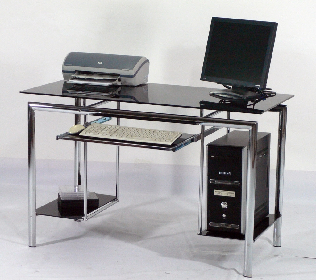 Glass And Metal Computer Desks Intended For Trendy Office: Modern Office Desks Ideas With Black Laminate Metal (View 10 of 20)