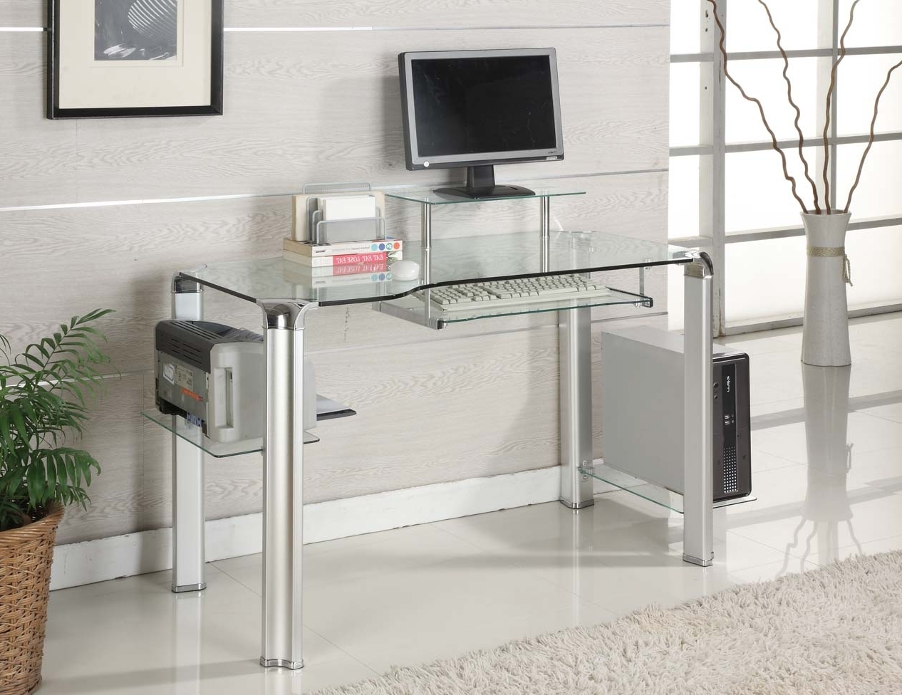 Glass And Metal Computer Desks With Favorite Interior Design : Computer Desk Glass Metal Simple Computer Desk (View 12 of 20)