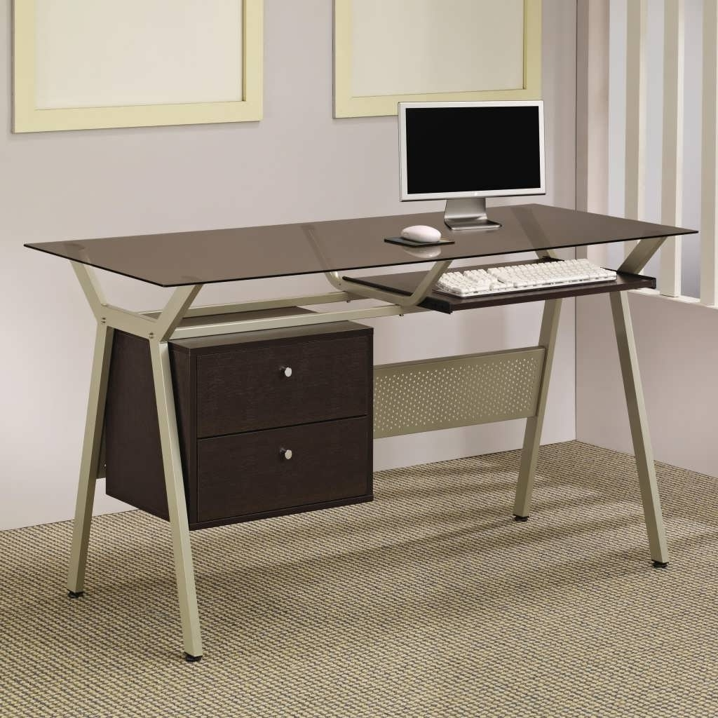 Glass And Metal Computer Desks With Regard To 2019 Office Desk : All Metal Desk Glass And Metal Computer Desk Best (Gallery 11 of 20)