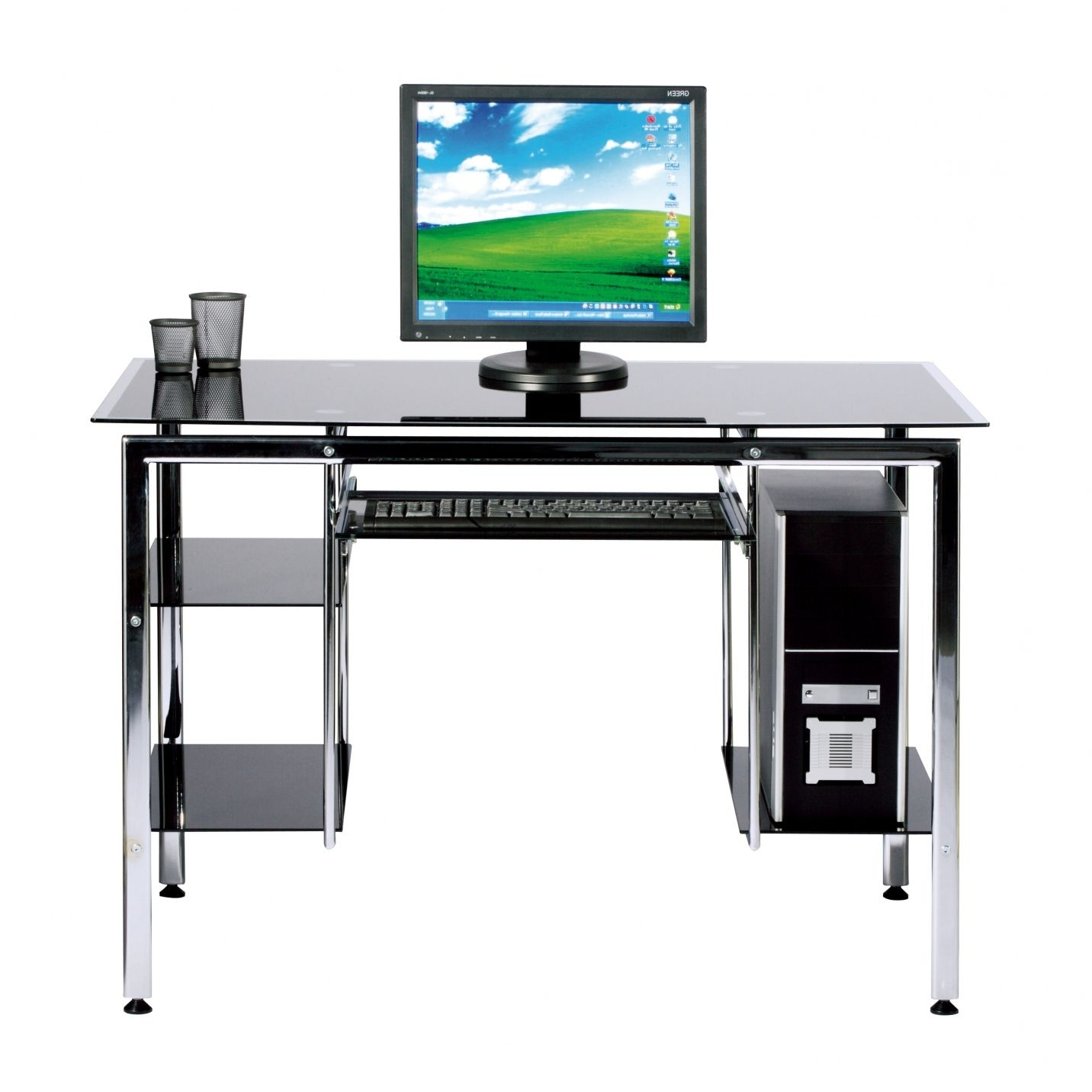 Glass Computer Desks For Trendy Black Tempered Glass Computer Desk – Home Office Furniture (View 8 of 20)